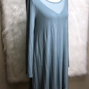 Soft surroundings blue tunic dress w/ mesh Sz m